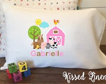 Personalized Barnyard Farm on White Toddler Travel Pillowcase Soft 100% Cotton Flour Sack Fabric Boy Girl Barnyard Farm Animals Pillow