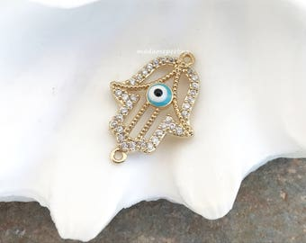 CONNECTOR micro pave evil eye hand gold plated CZ fatima hand evileye clear link turkish jewelry supplies MDLA5