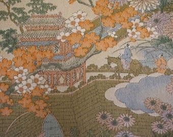 Ancient Royal Court Garden Vintage Japanese Tango Chirimen silk kimono fabric