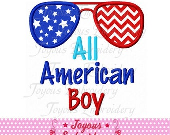 Instant Download 4th of July All American Boy Glasses Applique Embroidery machine Design NO:2358