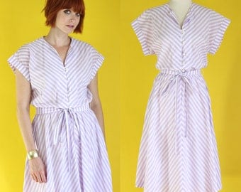 Vintage 80s Purple and White Striped Dress - Shirt Dress with Pockets - Chevron Dress - Button Front Dress - Summer Midi Dress - Size Large