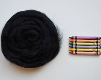 ROMNEY WOOL ROVING / Totally Black1 ounce / romney roving for spinning, needle felting, wet felting, weaving, tapestry, doll hair