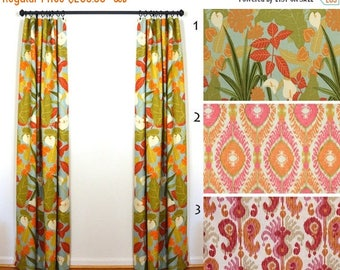 Superb SALE Curtains 2 Curtain Panels Draperies Window Treatments Tropical Decor  Robert Allen Rowlily Palm Beach
