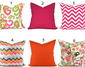 Pillow Covers ANY SIZE Pillow Cover Cushion Cover Orange Pillows Pink Pillow Zigzag Pillow Chevron Pillow You Choose