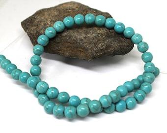 8 mm Blue Turquoise Magnesite Round Beads