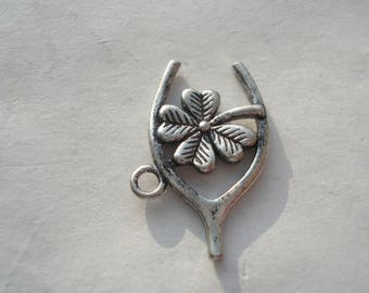 23mm Copper Charm, Antique Silver Four Leaf Clover Charm, Carved Wishbone Charm, C135