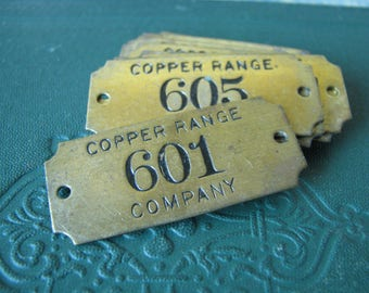 Beautiful Vintage Brass Numbered Tool Check Hardware Tag Copper Range Company Jewelry Supply Jewelry Assemblage