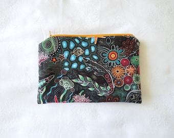 Pencil Case, Zipper pouch. Australiana. Cosmetic Pouch, Toiletries Bag, Gadget Bag, Make-up, Jewellery Pouch.