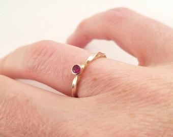 14k gold twist ruby ring
