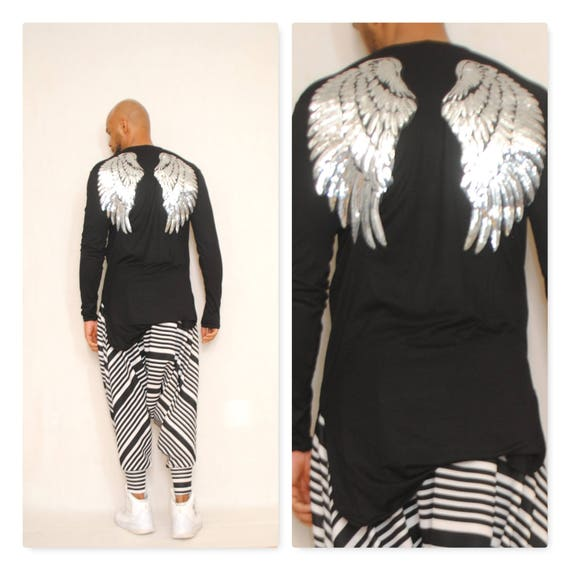 Metallic Sequin Wing Backed  Long Sleeve Elongated Knit Jersey T-Shirt