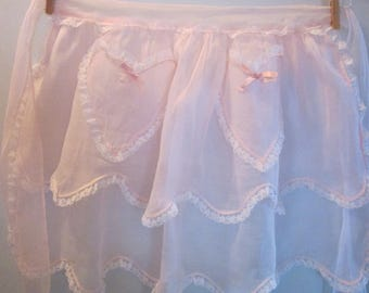 Pink chiffon vintage apron / Vintage pink Apron