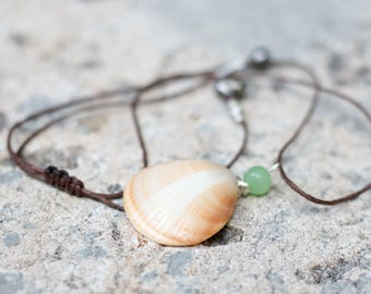 Shell Necklace On Vegan Leather Cord. 100% Adjustable.