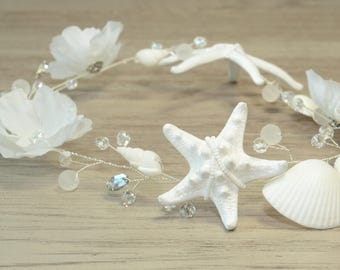 Beach Wedding Hair Accessories Shell Headpiece Little Mermaid Bridal Crystal Hair Vine Seashell Starfish Crown White Flower Headband Tiara