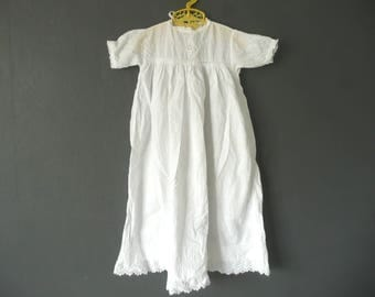 Antique Christening gown - white cotton and lace Christening dress - antique baby dress - white embroidered baptism dress