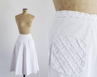 1970s White Cotton Skirt - Vintage 70s Style - Naxos Skirt