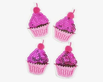 "2"" NEW Sequin Cupcake Padded/Appliques - Pink Color- Pink Cupcake Appliques - Cupcake Padded -Birthday Party - Hair Accessories Supplies"