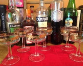Vintage Coupe : Set of 6 matching cocktail glasses with gold decorative band (5 1/2 ounce coupes)