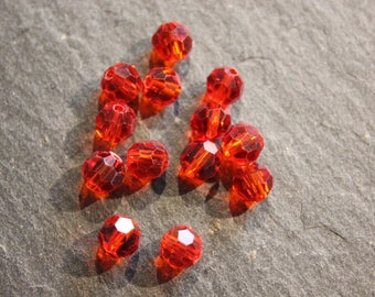 Lot 10 diameter red crystal 6 mm faceted round beads