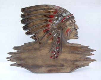 Native American Wood Carving.   Indian Chief Wood Sculpture.  Vintage.