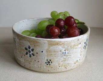 Modern Stoneware Fruit Bowl, White Glaze with Flower Impression, Hand Thrown Pottery
