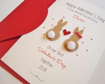 Personalised First Valentine's Together Boyfriend/Girlfriend Handmade Valentine's Card