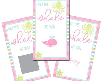 Set of 12 Scratch Off Game Cards with Tropical Nautical Pink Whale Coastal Scratchers in Pink, Aqua and Lime Green CSC045