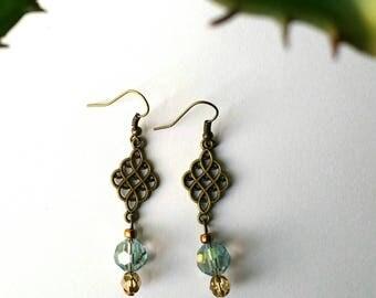 Bead Earrings, Blue-Green and Bronze, Dangle Earrings