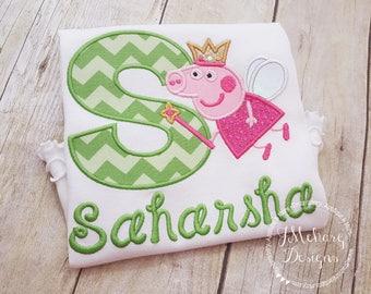 Fairy Princess Peppa Pig Birthday Custom Tee Shirt - Customizable -  Infant to Youth 177 green
