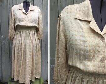 Vintage dress | 1990s Harve Benard beige silk shirt dress