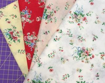Floral Bouquet Fabric - Fat Quarter Bundle - Dear Little World Bunny - Quilt Gate
