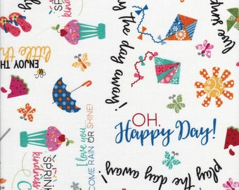 Word Fabric - Umbrella Fabric - Ice Cream Fabric - Sprinkle Sunshine - Kim Christopherson  - Kimberbell Designs - Maywood Studio