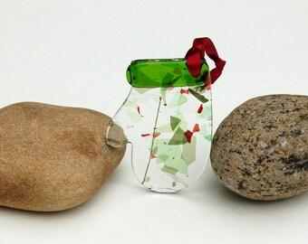 Fused Glass Mitten Ornament, Fused Glass Mitten Suncatcher