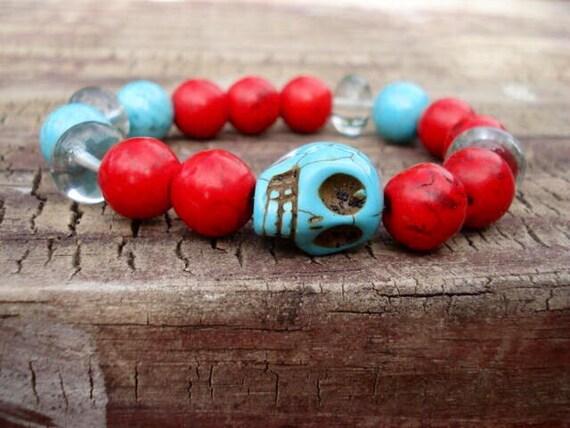 Sugar Skull Bracelet, Skull Bracelet, Bracelet for Women, Girl's Bracelet, Turquoise Bracelet, Red Bracelet, Crystal Bracelet, Skull Jewelry