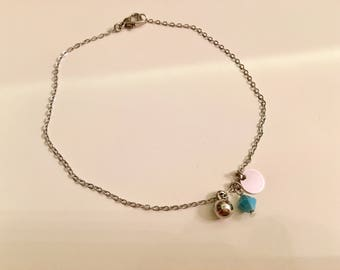 Silver Plated Anklet, Silver Plated Dainty Ball  Anklet,Silver Anklet,Summer Elegant Anklet,Foot Jewelry,Birthday Gift,Gift  for Her