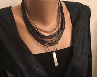 Dark Brown Multi Strand Leather Necklace, Stylish Necklace, Leather Cord Crystal, Dark Brown Crystal Necklace, Layared Necklace, Gift for He