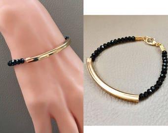 Gold Plated Black Swarovski Crystal Bracelet, Gold Bracelet, Beaded Bracelet, Elegant Bracelet, Valentines Gifts, Birthday Gift, Gift for He