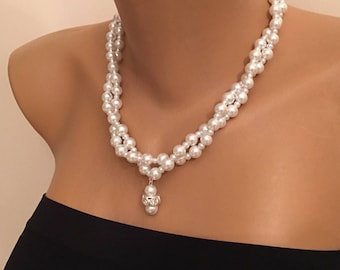 Rhinestone Pendant Pearl Bridesmaid Jewelry, Best Gift, Pearl Twisted Necklace, White Glass Pearl Necklace, Wedding Jewelry, Flower Girls