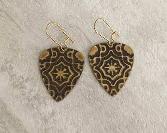 Brass Guitar Pick Earrings