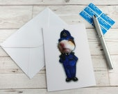 Police Officer Card Greetings Hamster Policeman WPC PC Cute Animal Humour English Cop Funny Blank Stationery