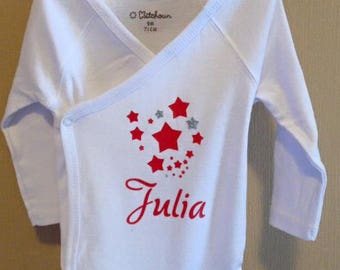 Stars + name Bodysuit / coral mixed baby customizable