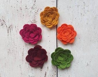 Autumn Felt Flowers, felt flowers, 3D felt roses, embellishments, felt applique, die cut flowers, felt roses, felt supplies, felt posies