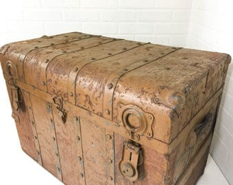 "Antique Steamer Trunk Travel Chest Storage Container ""The Famous"" Katz & Goldsmith Department Store Braddock PA"