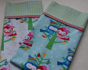 "Pillowcase Kit/Christmas Owl Fabric/Choose Royal, Blue or White/Cotton Material/3/4"" Body Fabric, 2"" Accent Strip, 9"" Cuff/Make Your Own"