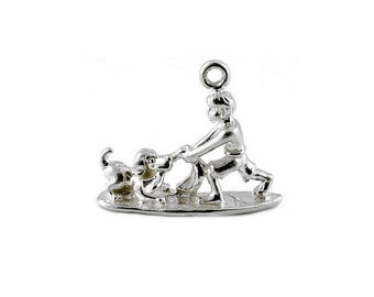 Sterling Silver Boy Playing With His Dog Charm For Bracelets