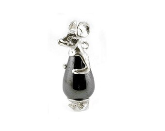 Sterling Silver & Hematite Mouse Charm For Bracelets