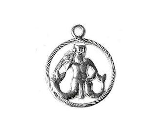Sterling Silver Zodiac Aquarius Charm For Bracelets