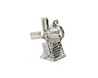 Sterling Silver Moving Windmill Charm For Bracelets
