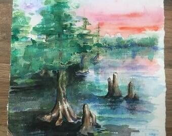 SWAMP LAND Original Watercolor