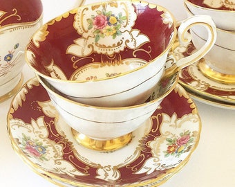 Vintage Tea Cups for 4 Four // Made in England// Tuscan Fine Proclain Bone China //Bridal Tea // Tea Lovers Gift // Antique Tea cups