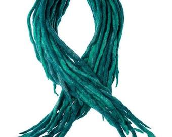 Wool Dreadlocks Teal Peacock Blue blended custom wool dreads-  Double Ended Roving art hair extensions Kit